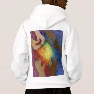 Hearts & Hands Love Diversity Art DEI Hoodie