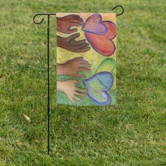Hearts & Hands Love Diversity Art Garden Flag