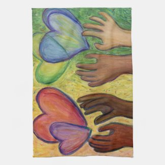 Hearts & Hands Love Diversity Art Kitchen Towel