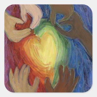 Hearts & Hands Love Diversity Art Sticker Decals