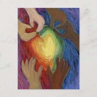 Hearts & Hands Love Diversity Custom Art Postcards