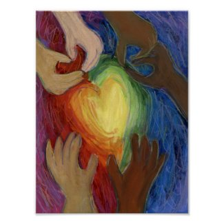 Hearts & Hands Love Painting Art Poster Print