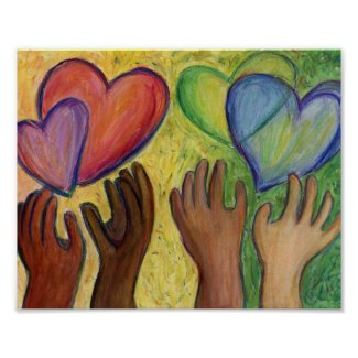 Hearts & Hands Love Painting Art Poster Prints