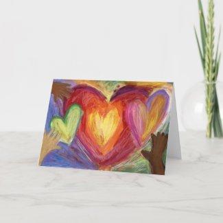 Hearts & Hands Love Painting Custom Greeting Card