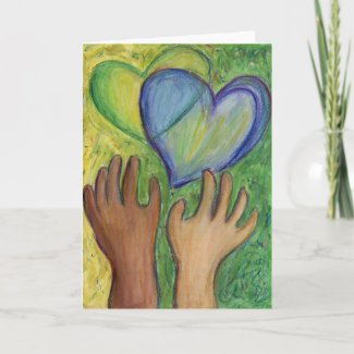 Hearts & Hands Love Painting Custom Greeting Cards