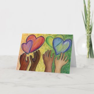 Hearts & Hands Love Painting Custom Note Art Card