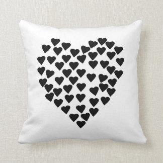 Hearts Heart Black on White Throw Pillows
