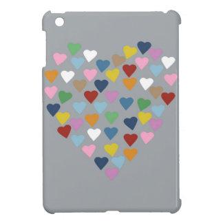 Hearts Heart Colour on Grey iPad Mini Case