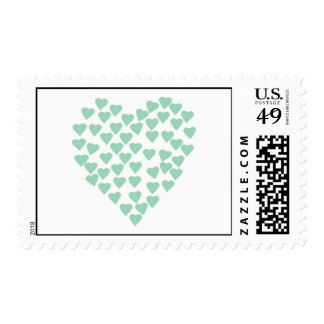 Hearts Heart Mint on White Postage