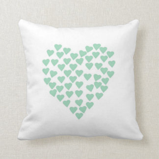 Hearts Heart Mint on White Throw Pillow