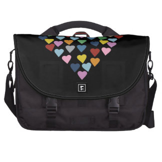 Hearts Heart Multi on Black Bags For Laptop