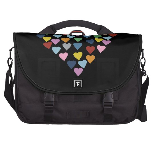 Hearts Heart Multi on Black Commuter Bag