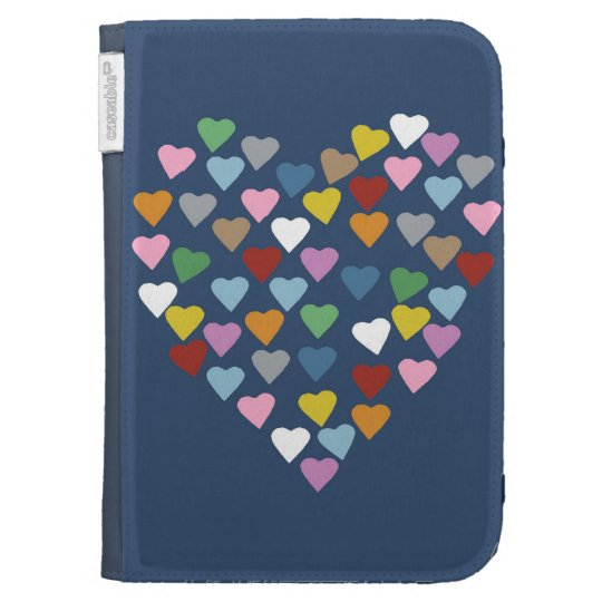 Hearts Heart Multi on Navy Cases For Kindle