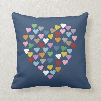 Hearts Heart Multi on Navy Pillows