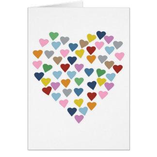 Hearts Heart Multi White Card