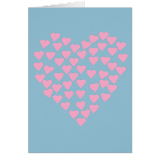 Hearts Heart Pink on Blue Card