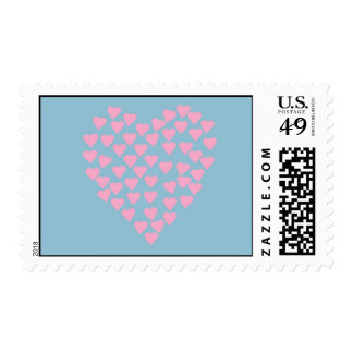 Hearts Heart Pink on Blue Postage Stamps
