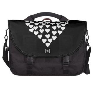 Hearts Heart White on Black Commuter Bag