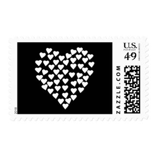 Hearts Heart White on Black Postage