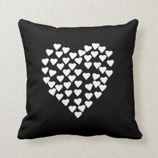Hearts Heart White on Black Throw Pillow