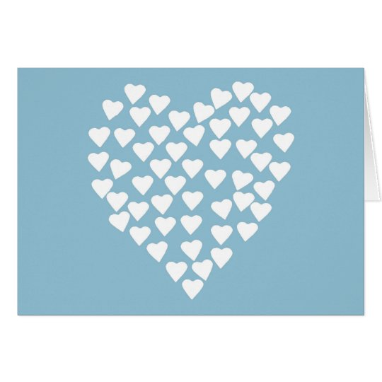 Hearts Heart White on Blue Card