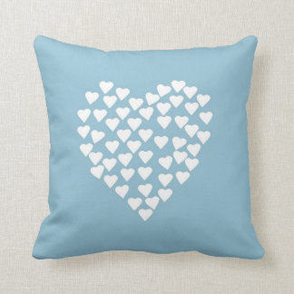 Hearts Heart White on Blue Pillows