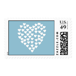 Hearts Heart White on Blue Postage Stamps