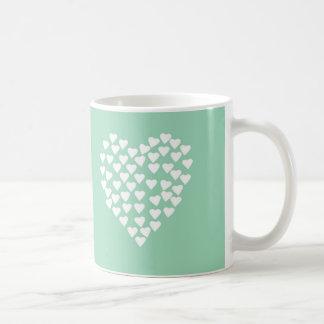 Hearts Heart White on Mint Mug