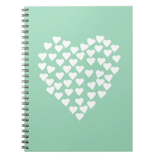 Hearts Heart White on Mint Spiral Note Books
