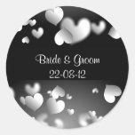 Hearts, Hearts, Bride & Groom22-08-12 Classic Round Sticker