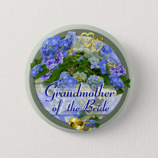 HEARTS & HYDRANGEAS ~ Wedding Button/Pin Button