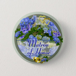 HEARTS & HYDRANGEAS ~ Wedding Button/Pin Button