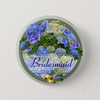 HEARTS & HYDRANGEAS ~ Wedding Button/Pin Pinback Button
