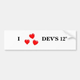 "hearts, I                DEV'S 12"" Car Bumper Sticker"