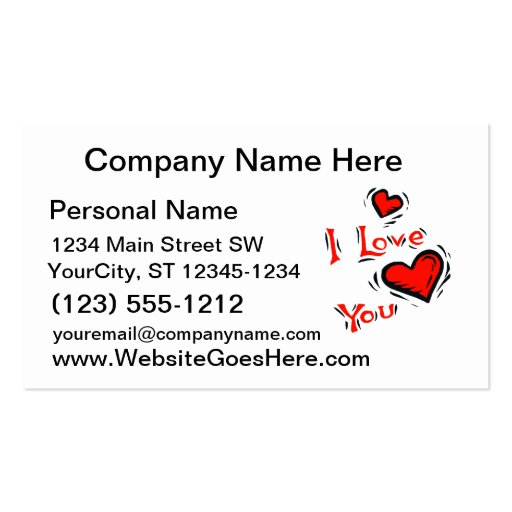 hearts I love you text design valentine Business Card