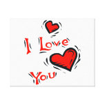 hearts I love you text design valentine Stretched Canvas Print