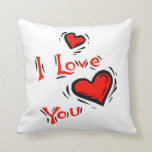 hearts I love you text design valentine Pillows