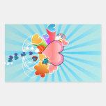Hearts illustration rectangular stickers