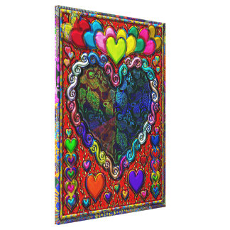 Hearts in a Frame Abstract Collage Canvas Print