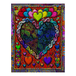Hearts in a Frame Abstract Collage Poster
