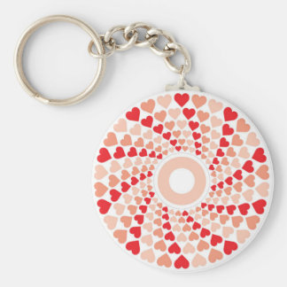 hearts in a spin basic round button keychain