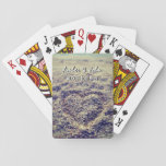 """Hearts in beach sand deck of wedding playing cards<br><div class=""""desc"""">Hearts in beach sand deck of wedding playing cards. Custom wedding photo playing cards with names of bride and groom plus date. Cute game gift idea for newlyweds couple / honeymooners. Add your own picture image. Upload your beautiful image to this template. Elegant script text. Vintage Instagram photograph of heart...</div>"""
