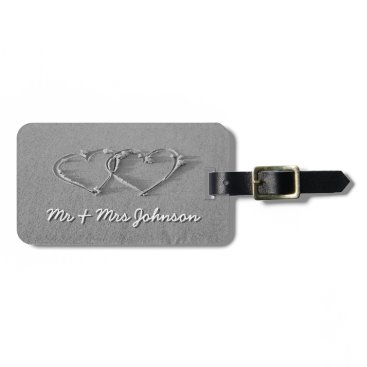 Beach Themed Hearts in beach sand luggage tag for newly weds