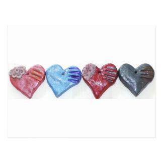 Hearts In Color Clay Art Photo Design Postcard
