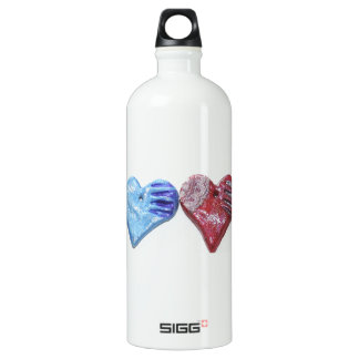 Hearts In Color Clay Art Photo Design Water Bottle