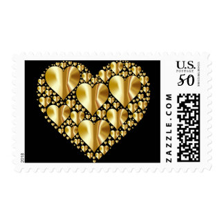 Hearts in Heart Metallic Gold on Black Stamp