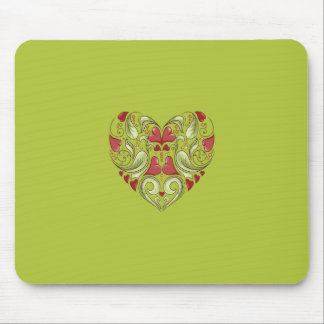 Hearts-In-Heart-On-Acid-Apple-Green-Pattern Mouse Pads