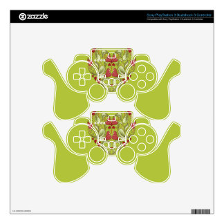 Hearts-In-Heart-On-Acid-Apple-Green-Pattern PS3 Controller Decal