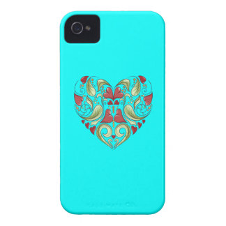 Hearts-In-Heart-On-Aquamarine-Blue-Pattern iPhone 4 Case