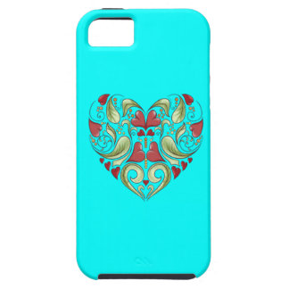 Hearts-In-Heart-On-Aquamarine-Blue-Pattern iPhone 5 Cases